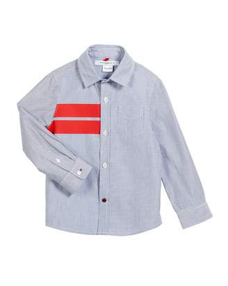 Givenchy Striped Button-Down Shirt w/ Red Details, Size 4-5