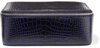 Smythson Mara Croc-effect Leather Jewelry Case - Storm blue