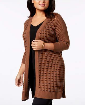 Kasper Plus Size Knit Open-Front Cardigan