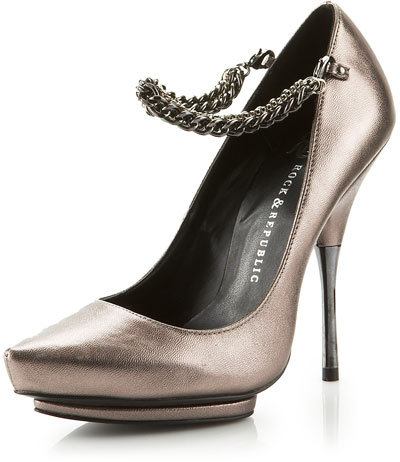 Rock & Republic Metallic Chain-Strap Pump, Pewter