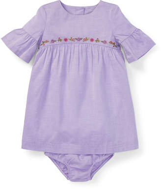 Ralph Lauren Woven Ruffle-Sleeve Embroidered Dress w/ Bloomers, Size 6-24 Months