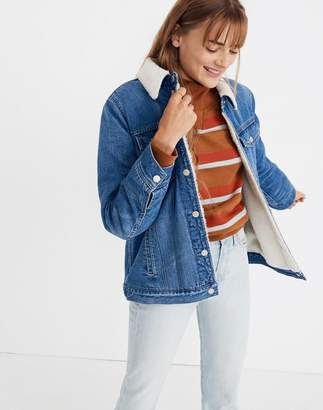 Madewell The Oversized Jean Jacket in Pinehill Wash: Sherpa Edition