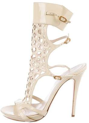 Alexander McQueen Patent Leather Laser Cut Sandals