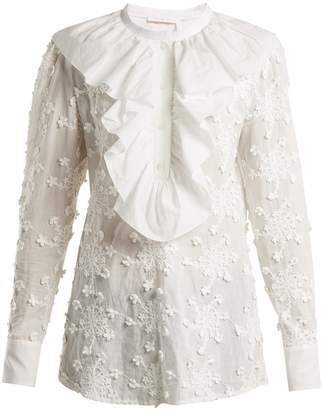 See by Chloe Ruffled-trim embroidered cotton blouse