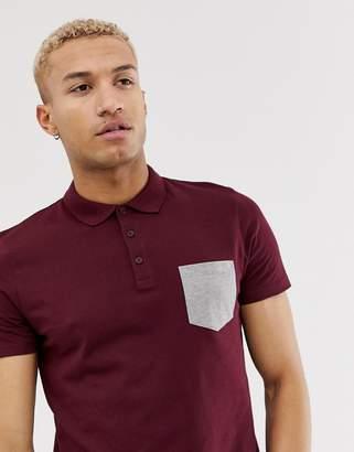 Asos Design DESIGN polo shirt with contrast pocket in burgundy