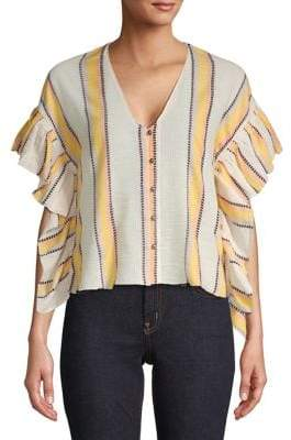 Saylor Dorene Striped Ruffle Top