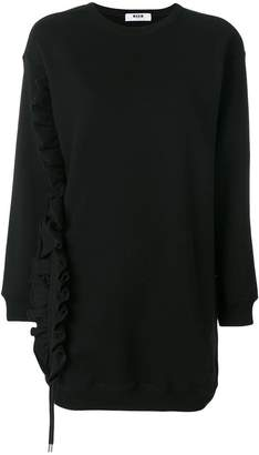 MSGM frilled detail elongated sweatshirt