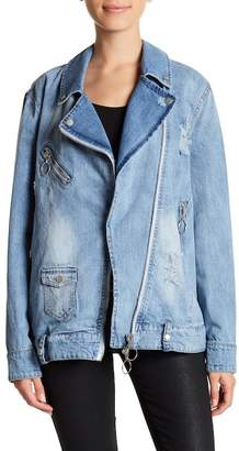 Bagatelle Distressed Zipper Denim Moto Jacket
