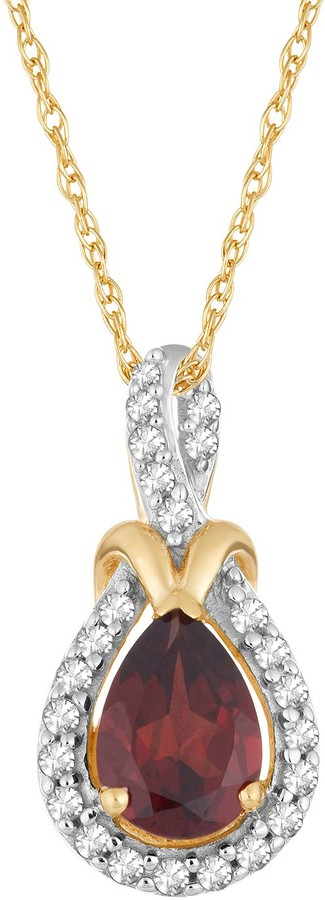10k Gold Garnet & 1/6 Carat T.W. Diamond Halo Pendant Necklace