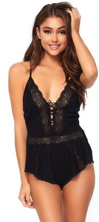 Women's Lace Romper Lounge and Sleepwear Nightie Pajama Set, Black, Medium
