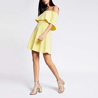 River Island Yellow bardot skater dress