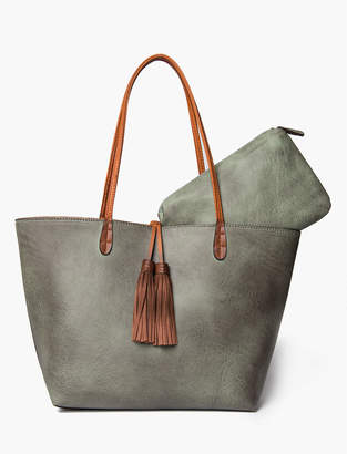 Lucky Brand FRINGE TASSEL TOTE WITH CONTRAST STRAPS