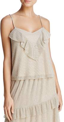 June & Hudson Ruffled Metallic Camisole