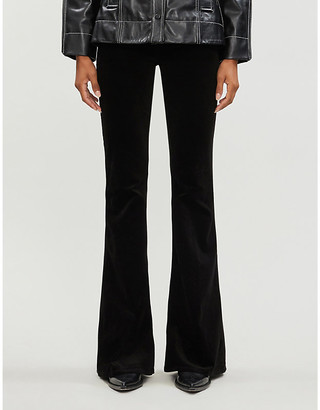 J Brand Valentina flared mid-rise velvet trousers