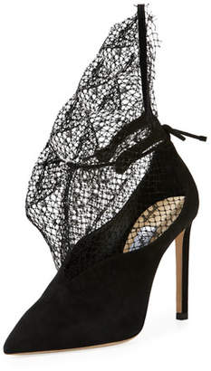 Jimmy Choo Leanne Suede Pumps with Sculptural Netting