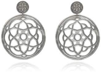 Maro - Oxidised Silver Byzantine Bibi Statement Earrings
