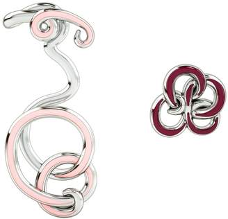 1986 - 1986 Wiggle Wiggle Twist & Hug Earrings Baby Pink & Rhodium
