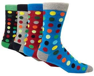 Red Herring Pack Of 4 Multi-Coloured Spot Print Ankle Socks