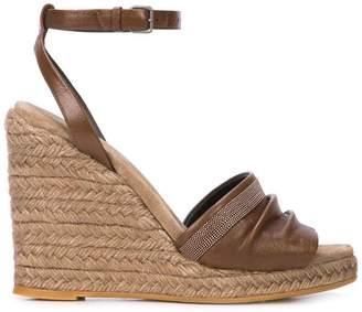 Brunello Cucinelli wedge espadrille sandals