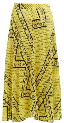 Ganni Hemlock Bandana Print Silk Blend Skirt - Womens - Yellow Multi