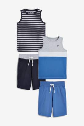 Next Boys Blue/Grey Vest Pyjamas Two Pack (3-16yrs)