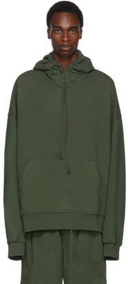 Juun.J Khaki Panelled Oversized Hoodie
