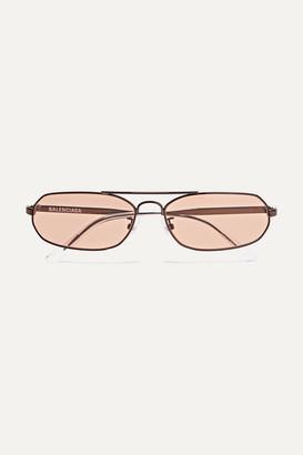 Balenciaga Verso Oval-frame Metal Sunglasses