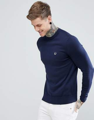 Fred Perry Crew Neck Cotton Sweater In Navy