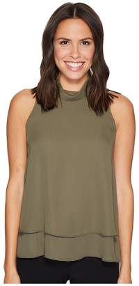 Ellen Tracy Double Layer High Neck Shell Women's Clothing