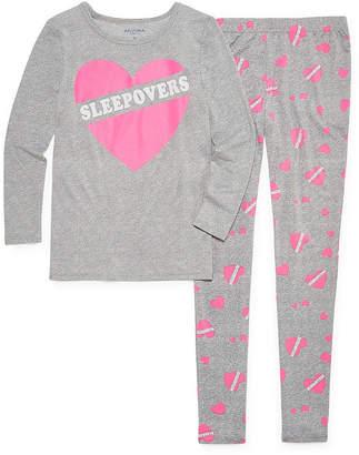 Arizona Tight Fit Sleepover Heart 2pc Pajama Set - Girls