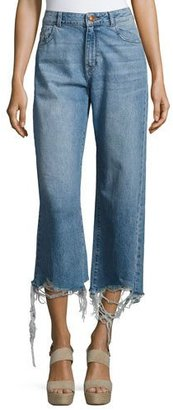 DL 1961 Hepburn High-Rise Wide-Leg Jeans with Shredded Hem, Slate $198 thestylecure.com