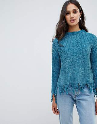 Brave Soul stabilo chenille sweater with distressed hem