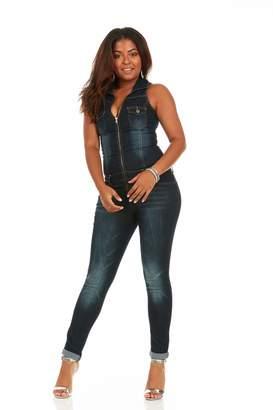 Cover Girl Women's Plus Size Denim Jumpsuit Sleeveless Skinny fit Zip up