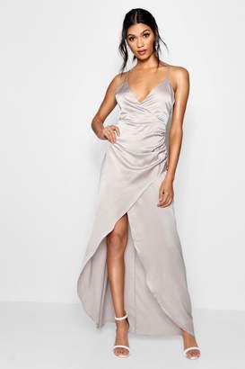 boohoo Boutique Gillian Satin Wrap Maxi Dress