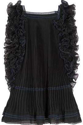 Chloé Ruffled Pleated Silk-organza Top