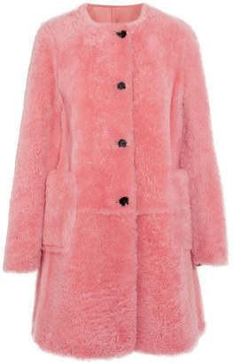 Reversible Shearling Coat - Pink
