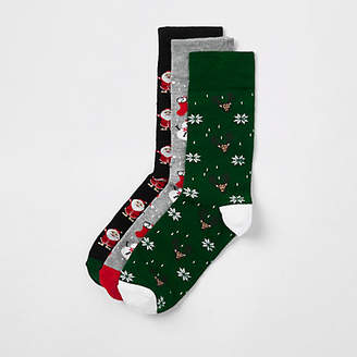 River Island Green Christmas socks multipack