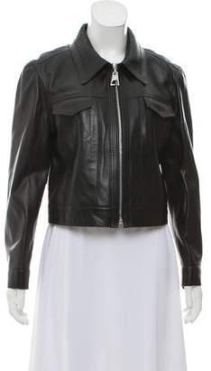 Louis Vuitton Leather Zip Front Jacket