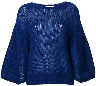 Closed puff sleeve brushed sweater