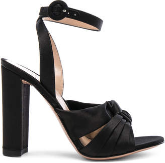 Gianvito Rossi Satin Loren Knot Ankle Strap Heels