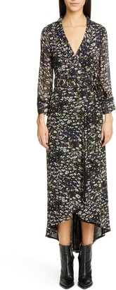 Ganni Floral Print Georgette Midi Wrap Dress