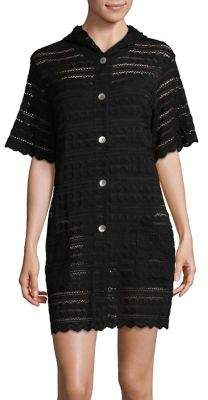 J Valdi Button-Down Eyelet Cover-Up