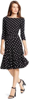 Lauren Ralph Lauren Tia Driver Polka-Dot Jersey Dress $149 thestylecure.com