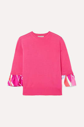 Emilio Pucci Printed Silk-trimmed Wool Sweater - Pink