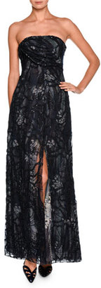 Giorgio Armani Floral Strapless Beaded Gown, Charcoal/Multi $16,695 thestylecure.com