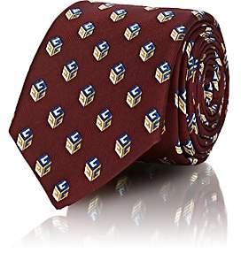 Gucci Men's Logo-Cube-Print Silk Necktie - Red