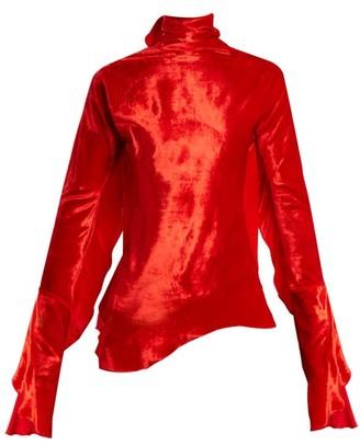 Paula Knorr - Relief Waterfall Ruffled Silk Blend Velvet Top - Womens - Red