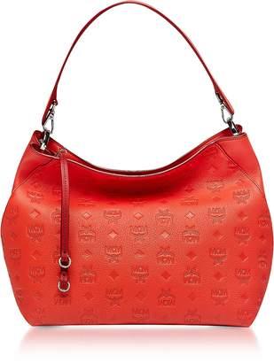 MCM Klara Marigold Orange Monogrammed Leather Medium Hobo Bag
