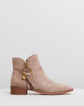 See by Chloe Ring Zip Pull Flat Boots
