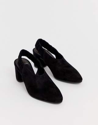 Vagabond tracy black suede slingback block heeled shoes